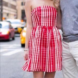VINEYARD VINES red gingham fit & flare dress